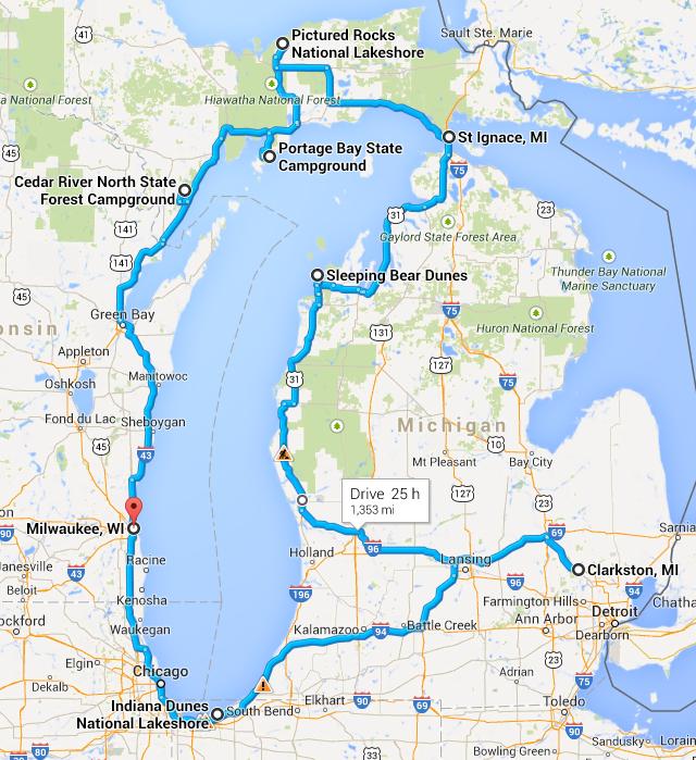 Summer Vacation Lake Michigan Circle Tour Pat And Carla - Lake michigan circle tour map