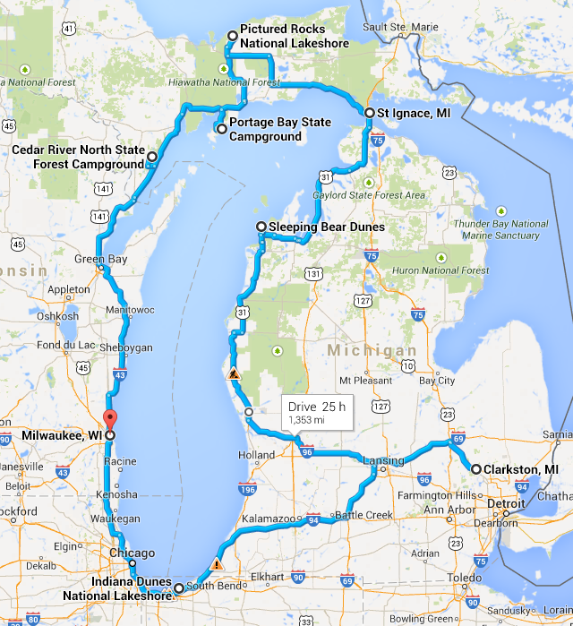 LakeMichiganCircleTourRoute